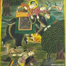 mughal hunting animal rajasthani miniature painting wall art