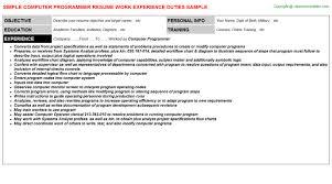 computer programmer resume samples computer programmer resume sample