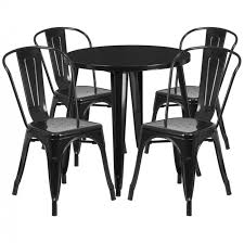 flash furniture 30 round metal indoor outdoor table set w 4 cafe chairs ch 51090th 4 18cafe