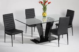 modern glass top dining table and 4 black leather chairs