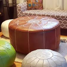 ikram design genuine leather xl round moroccan pouf ottoman com