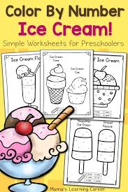 free color by number worksheets. Fine Color Color By Number Worksheets For Preschool Ice Cream 8 Printable Pages To Free