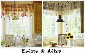 diy no sew burlap kitchen valances made from coffee bags debbiedoo s