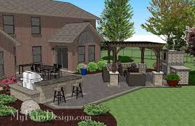 paver patio with pergola. Rear Courtyard Paver Patio Design With Pergola, Fireplace And Bar 3 Pergola