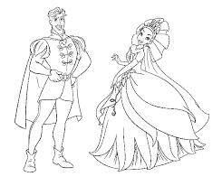 Disegno Di Principessa Tiana E Il Principe Da Colorare Per Bambini