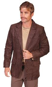 scully men s leather blazer western classic leather brown big and long