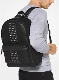 black bryant studded leather backpack michael kors
