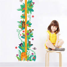 Us 3 08 5 Off Animals Monkey Giraffe Height Measure Wall Sticker For Kids Rooms Flower Growth Chart Wall Decal Art Children Room Decor In Wall