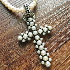 new echo of the dreamer sterling silver white pearl large cross fl93
