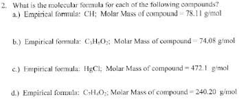 What Is The Molecular Formula For Each Of Clutch Prep