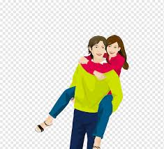 happiness couple cartoon men carrying