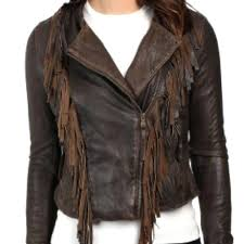 fringe jacket womens brown leather western