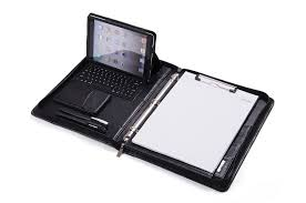 mini binder 2 inch deluxe leather 3 ring binder with bluetooth keyboard for ipad mini and 11 inch macbook