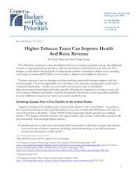 higher tobacco taxes can improve health and raise revenue center  share