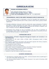 EHS Resume 15.12.2015. CURRICULM-VITAE ENVIRONMENTAL, HEALTH AND SAFETY  MANAGER & LEAN CO-ORDINATOR Obtain a ...
