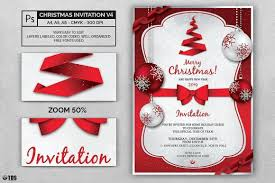 Christmas Invitation Template Psd Customizable V4