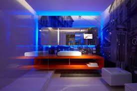 cool lighting pictures. Decoration: Cool Blue Led Lighting For Bathroom Design With Awesome Wall Background Print Feat Frameless Pictures H