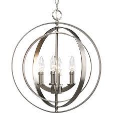 progress lighting equinox 4 light burnished silver transitional globe chandelier