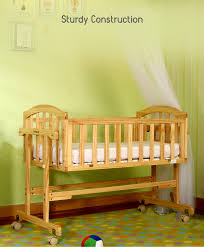 Baby Cradle Designs India Babyhug Ionia Wooden Cradle With Mosquito Net Natural Finish