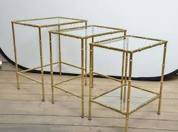 set of three brass and glass faux bamboo nesting tables for sale