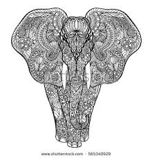 ethnic elephant isolated on white background hand drawn vector sketch for anti