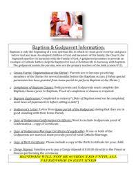 Fillable Online Shrine Sttherese Pueblo Baptism Paperwork