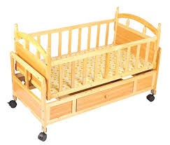 tiffy toffee premium luxury baby wooden bed with wheels brown