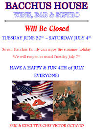 Bh Fourth Of July Flyer 2015 Bacchus House Wine Bar Bistro