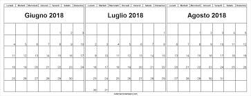Tre Mesi Calendario Giugno Luglio Agosto 2018 Calendario Di 12 Mesi
