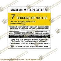 Boston Whaler Sakonnet Capacity Plate Decal 7 Person