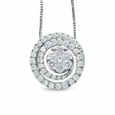 t w diamond swirl flower pendant in 14k white gold