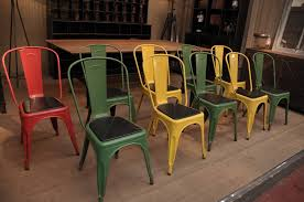 set of 10 french vintage tolix green yellow orange a chairs with original cushions