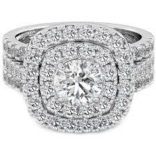 925 Silver Ladies 3 Piece Double Halo Wedding Bridal Ring Set