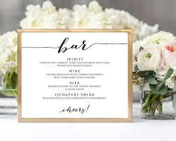 Bar Menu Wedding Sign Template 8x10 Wedding Sign Instant Download