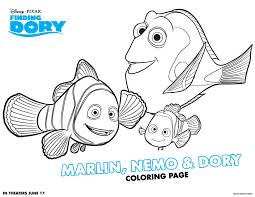 Small Picture Disney Pixar Finding Dory Coloring Pages Marlin Dory and Nemo