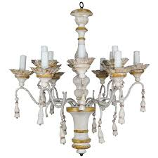 twelve light italian wood painted and iron chandelier