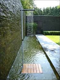 modern outdoor shower design ideas simple with style apply natural stones wall steps pool showers