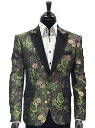 Green And Black Design Angelino Men Green Black Gold Metallic Rose Design Satin Lapel Dress
