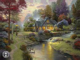 thomas kinkade stillwater cottage oil painting for select your favorite thomas kinkade stillwater cottage painting on canvas and frame at