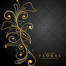 Register Decoration Design Enchanting Stylish Golden Floral Decoration On Black Background Vector Free