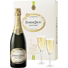 chagne perrier jouËt grand brut and 2 gles gift set