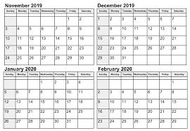 November 2020 Calendar Printables Pdf November 2019 To January 2020 Calendar Template 2019