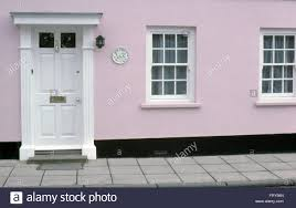 white front door. Exterior Of Pale Pink Early Victorian House With A White Front Door