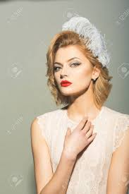 retro woman vine skincare look sensual blond with elegant makeup