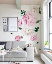 peony flowers wall sticker in pink w5028 pink placed next to framed wall art
