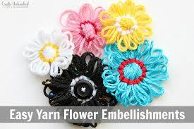 yarn crafts diy flower embellishments