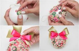 Decorated Styrofoam Balls Homemade Christmas tree ornaments 100 ideas with styrofoam balls 26