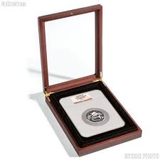 glass top wooden coin display case box for extra large certified slab coins ngc