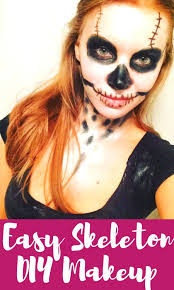 at home quick costumes with easy skeleton makeup for