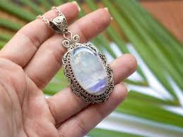 rainbow moonstone pendant necklace sterling silver pendant oval